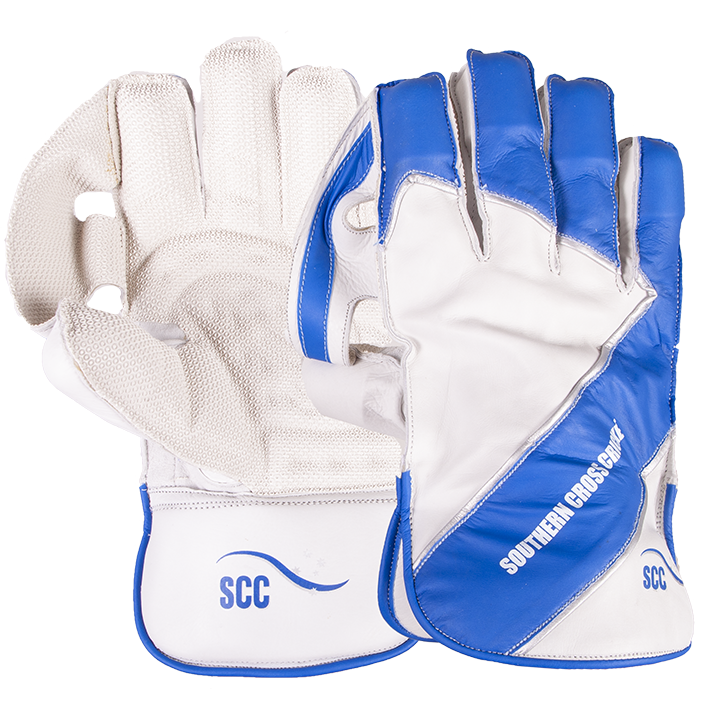 SCC Pro Adult Wicket Keeping Gloves-White/Blue_SCC130PRWG