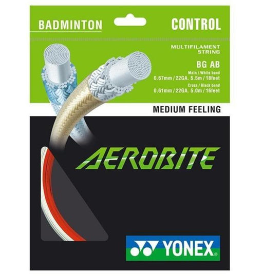 Yonex BG Aero Bite Badminton String - White/Red