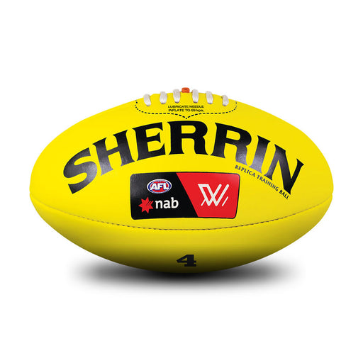 Sherrin Leather Size 4 AFLW Training Replica Ball-Yellow