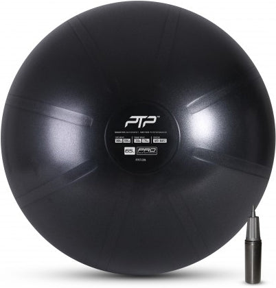 PTP 65cm Core Strength And Balance Ball With Pump - Onyx Black