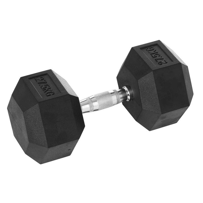 DB-1275-RC_Hce Rubber Hex 27.5Kg Dumbbell