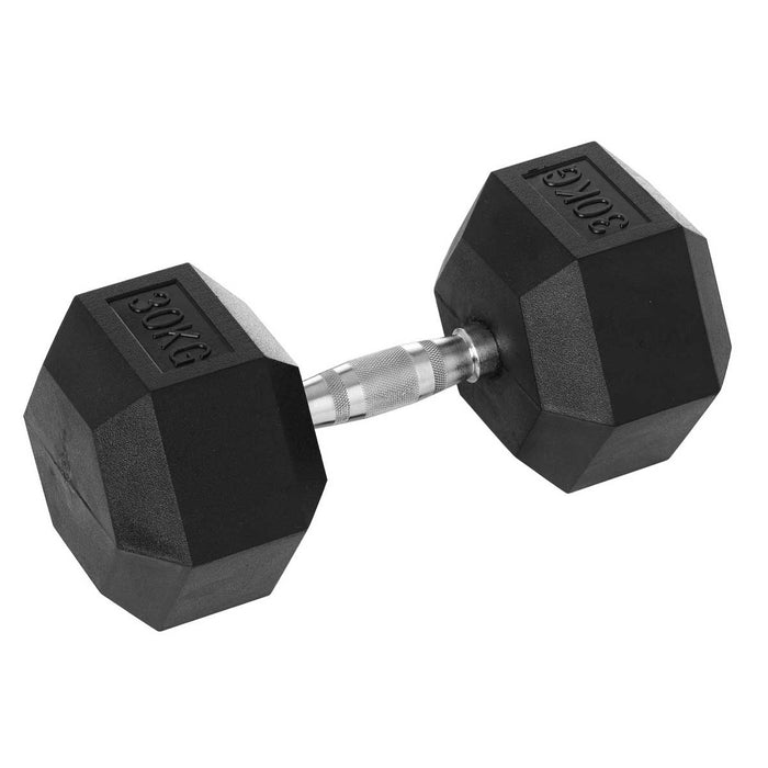 DB-1300-RC_Hce Rubber Hex 30Kg Dumbbell