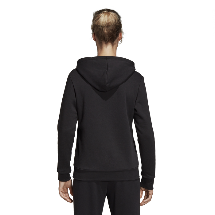Adidas Womens Ess Linear Fleece Hoodie - Black/White_DP2364