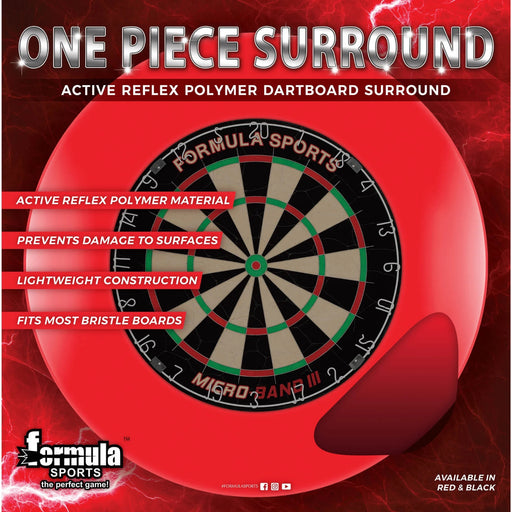 Formula One Piece Dartboard Surround Red