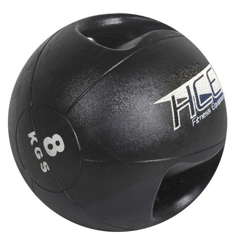 HCE Double Grip 8Kg Medicine Ball Black