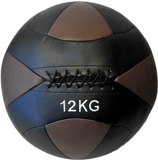 HCE 12Kg Leather Wall Ball - Black/Brown