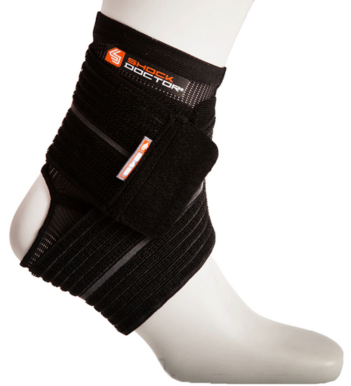 Shock Doctor Large Ankle Sleeve with Compression Wrap-Black