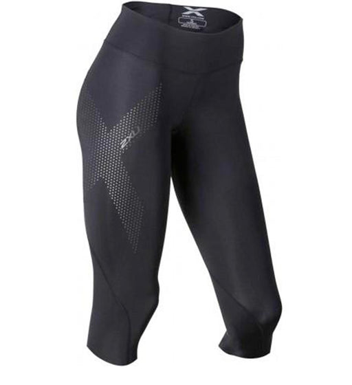 2XU Womens Mid Rise 3/4 Compression Tights - Black/Dot Reflective_WA2865B BLK/DRF