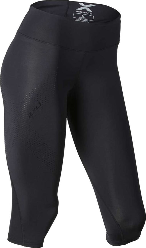 2XU Womens Mid Rise Compression 3/4 Tights - Black/Black Dot Logo