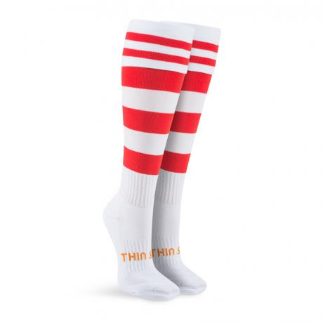 Thinskins Football Sock-White/Red Hoops (St George)
