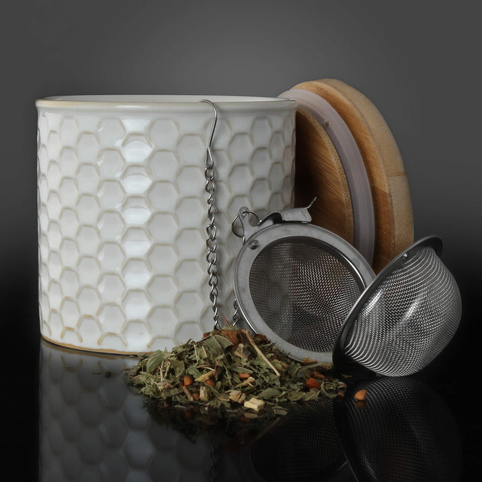 "8 oz. (3.5"" x 3"") Ceramic Tea Caddy Set - Honeycomb Caddy w/ Bamboo Lid and Tea Ball Infuser - Glossy White"