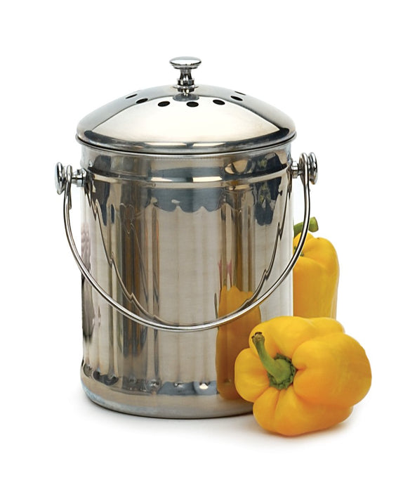 RSVP International Endurance Stainless Steel Compost Pail 1-gal.