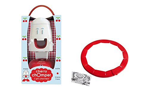 Talisman Designs Cherry Chomper Cherry Pitter with Adjustable Pue Crust Shield BPA-free Silcone, Red