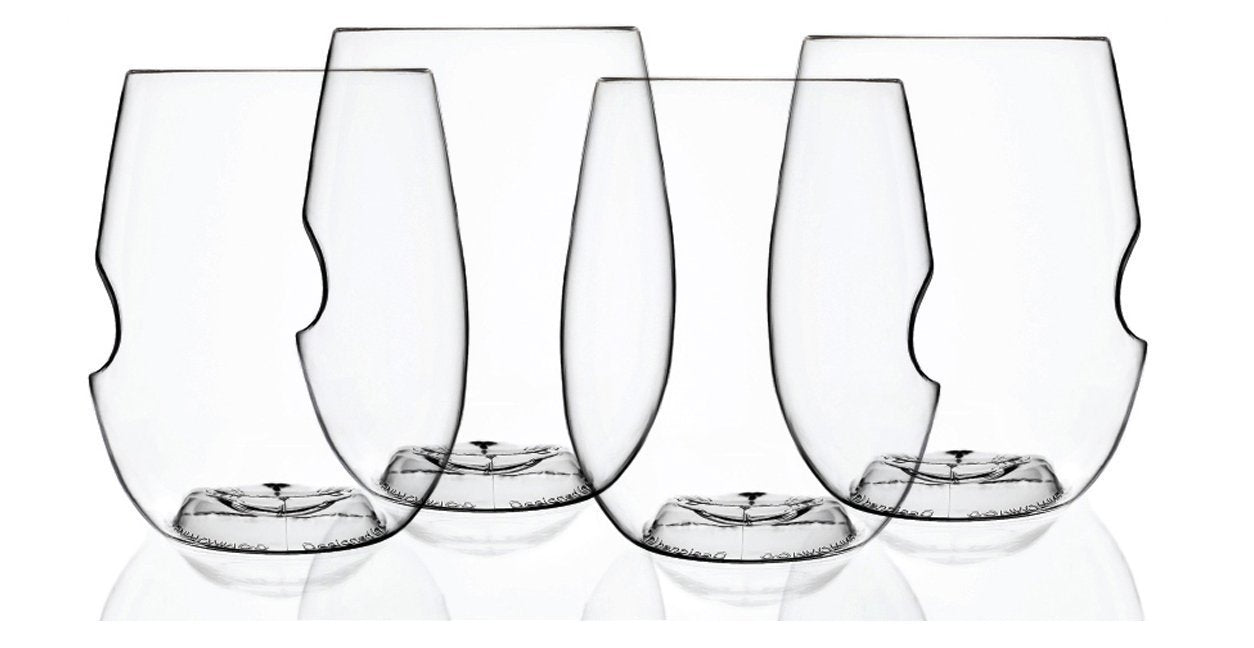 govino Classic Series Stemless Wine/Cocktail Glasses Flexible Shatterproof Recyclable, 12-Ounce, Set of 4