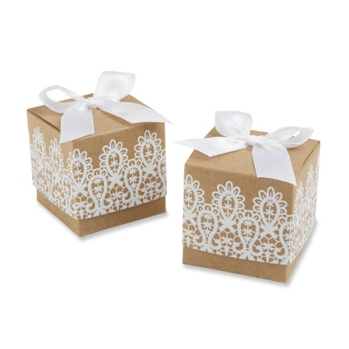 "28150NA""Rustic & Lace"" Kraft Favor Box (Set of 24)"