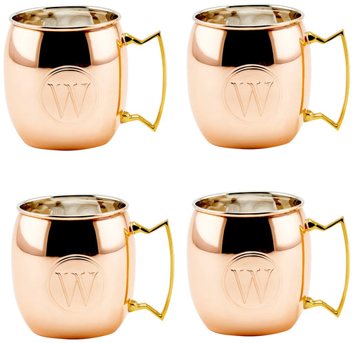 S/4 Solid Copper Moscow Mule Mugs, Monogram W, 16 Oz.