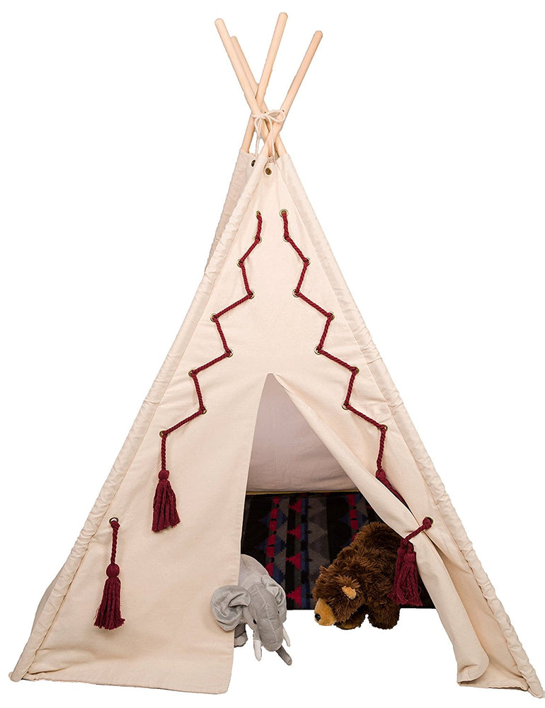 Teepee style play tent - Rope and tassel design