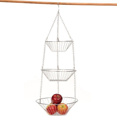 RSVP 30-by-12-Inch 3-Tier Wire Hanging  Basket, Chrome