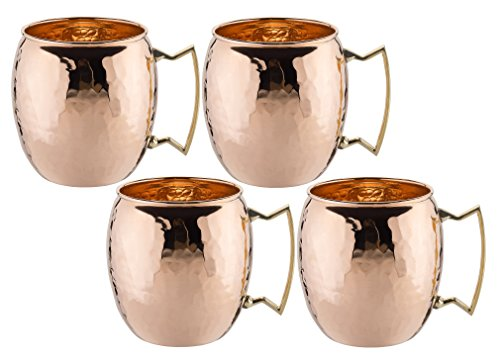 Set of 4 16 0z Unlined Hammered Moscow Mule Mug