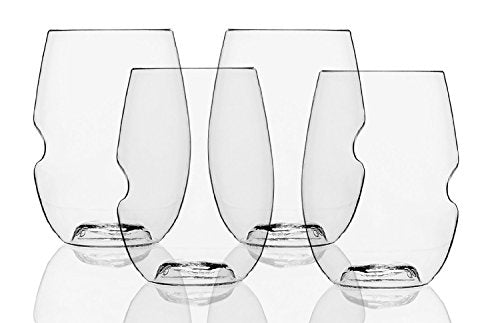 Dishwasher Safe Wine Glasses Flexible Shatterproof Recyclable, 16-ounce, Bulk Case of 72