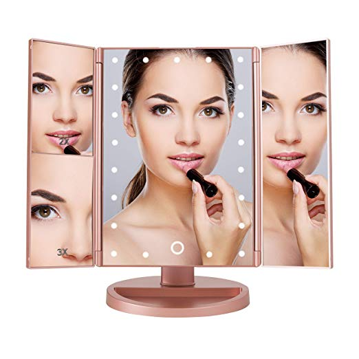 Makeup Vanity Mirror with 3x/2x Magnification,Trifold Mirror, Touch Screen, 180 Adjustable Rotation,Dual Power Supply