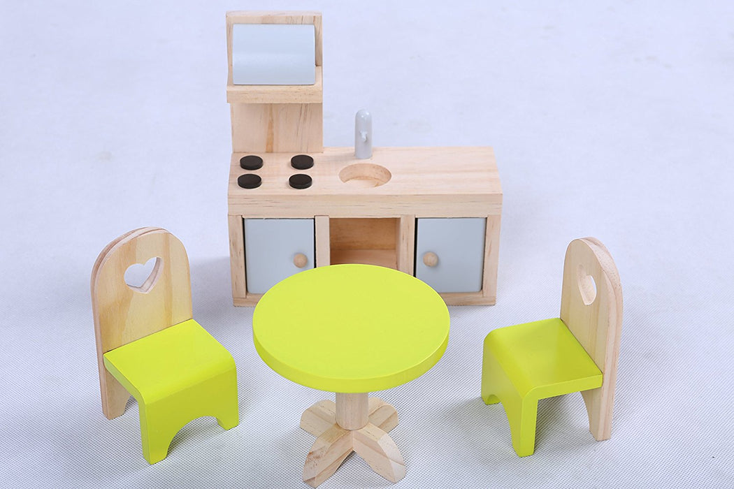 Wooden doll house + 16 furniture pcs - 3 feet tall