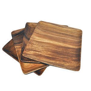 Acaciaware 7-Inch Acacia Wood Square Plate, set of 4