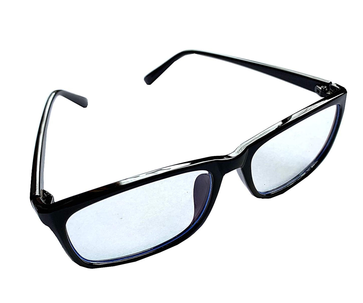 Blue Light Blocking Clear Eye Glasses - Black Unisex Classic Frame w/Pouch