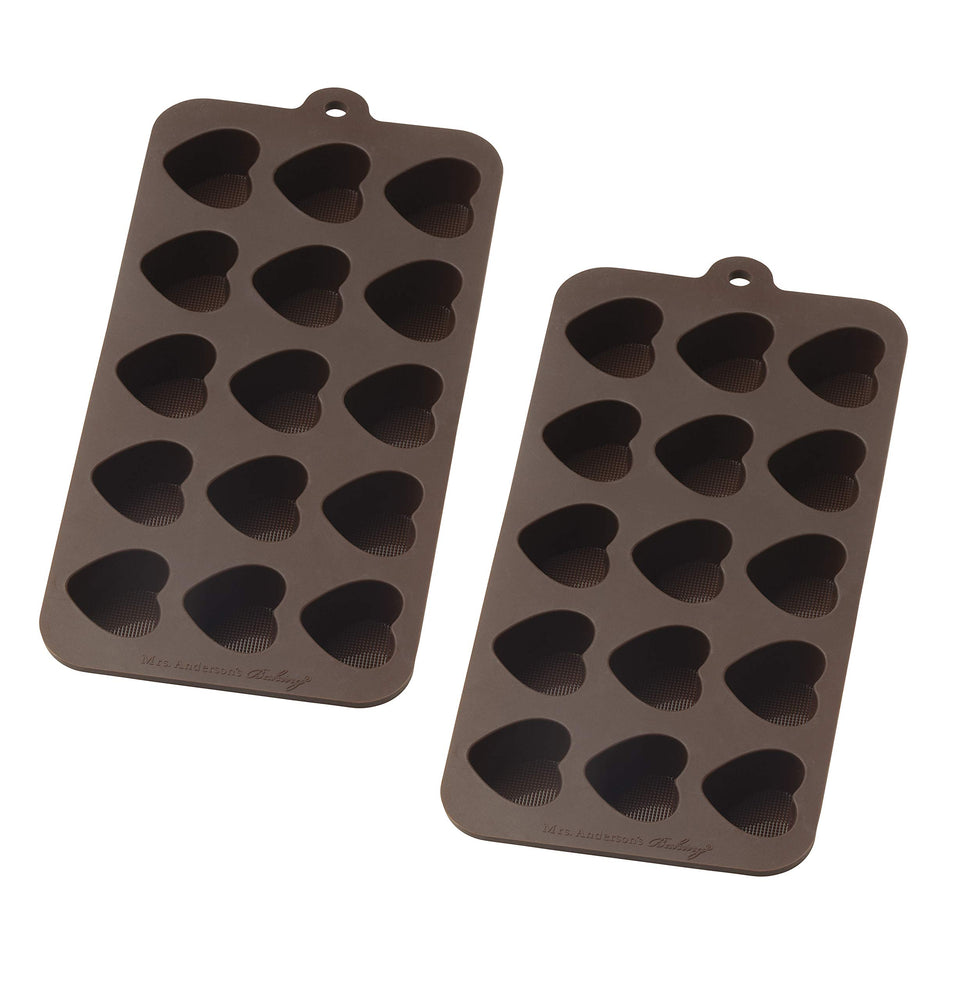 Mrs. Andersons Baking Chocolate Mold, European-Grade Silicone, Hearts, Set of 2