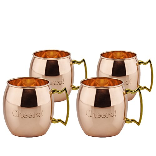 "Set/4 16 Oz. Solid Copper ""Cheers!"" Moscow Mule Mugs, (L, UL)"