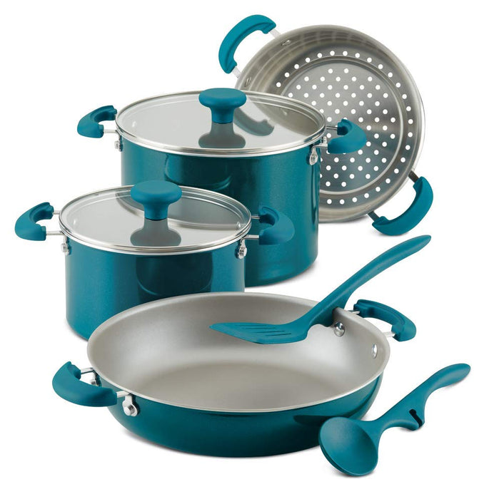 Rachael Ray 8pc stacking set, teal shimmer