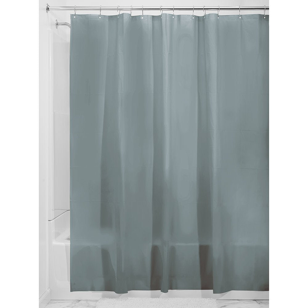 iDesign PEVA Shower Curtain Liner, Plastic Shower Curtain for use Alone or With Fabric Curtain - Smoke
