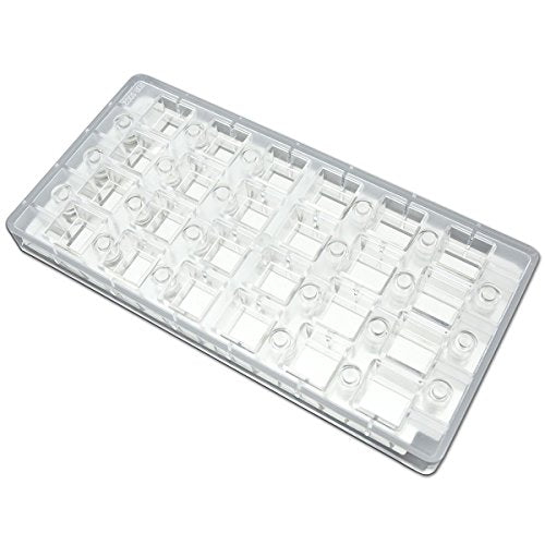 Fat Daddio's PCMM-02 24-Piece Square Angled Chocolate and Candy Mold Tray Set