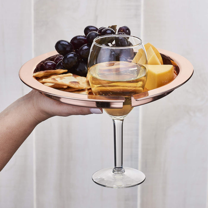 Hammered Copper Buffet Plates with Wine Glass Holder, Set of 4