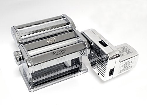 Atlas Electric Pasta Machine 180-Millimeter, Silver with Motor Set