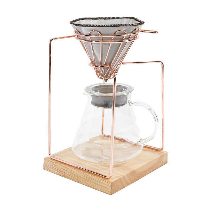 Pour-over coffee brewer set - w/V60 mesh filter, 600ml glass carafe - Rose Gold