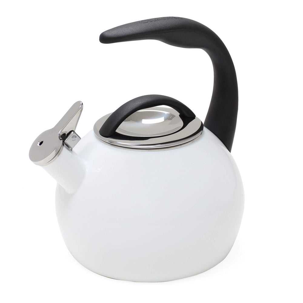 2 Qt. Enamel-on-Steel Anniversary Teakettle- White