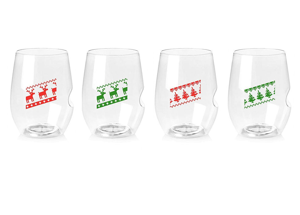16-oz Red Wine Glass 'Charmed' 12/4PK | Holiday Sweaters