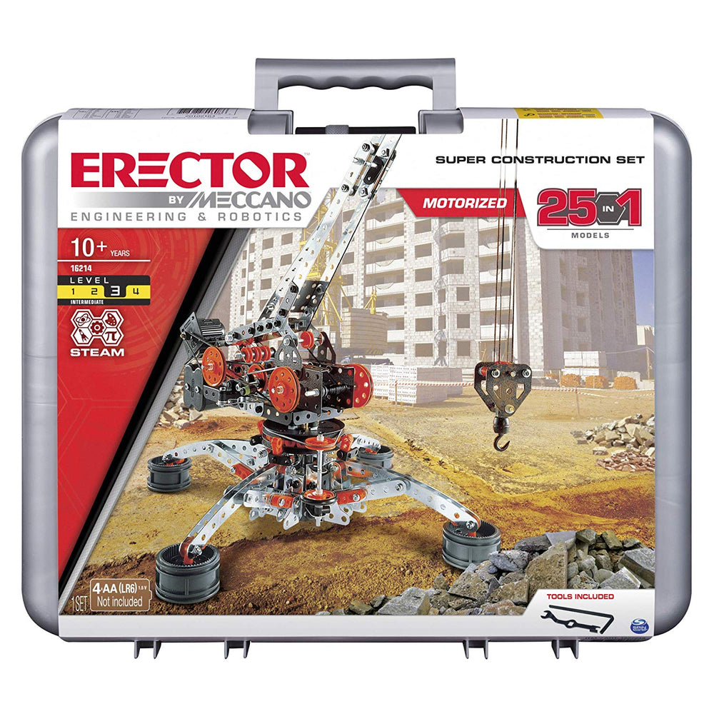 Erector by Meccano Super Construction 25-in-1 Motorized Building Set