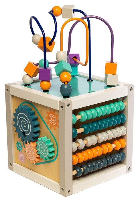 "MMP Living 6-in-1 Play Cube Activity Center - Wood, 8"" - 6 Sided Including ABC, Gears, Abacus, Mirror, Cube Spin and 3 Different Bead Play Options"