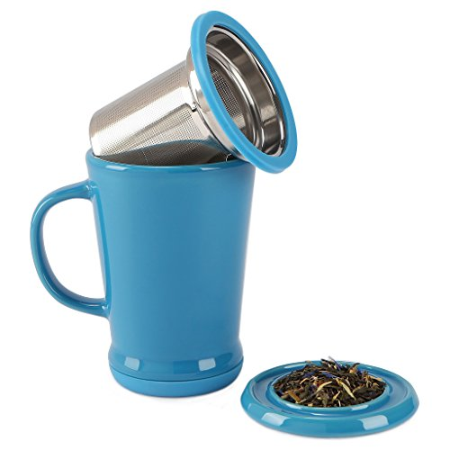 120680 Azure Berry - Tilt and Drip Tea Infuser Ceramic Mug, 14-Ounce
