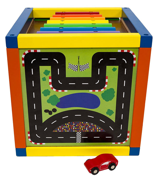 6-in-1 Play Cube Activity Center 12 inch Wood