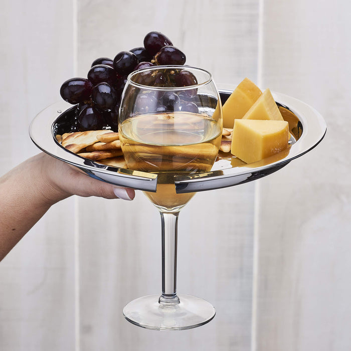 Hammered Stainless Steel Buffet Plates with Wine Glass Holder, Set of 4