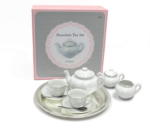 Porcelain tea set with silver tray & stainless steel spoons - Tea for 2