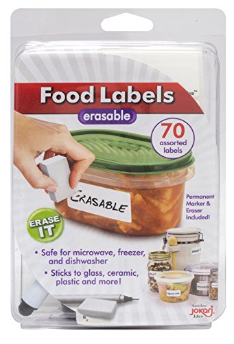 Jokari Label Erasable Food Labels with Markers, 70 Assorted Labels