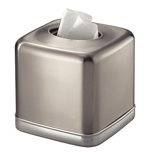 InterDesign York Bath, Facial Tissue Box Cover/Holder for Bathroom Vanity Countertops - Split Finish