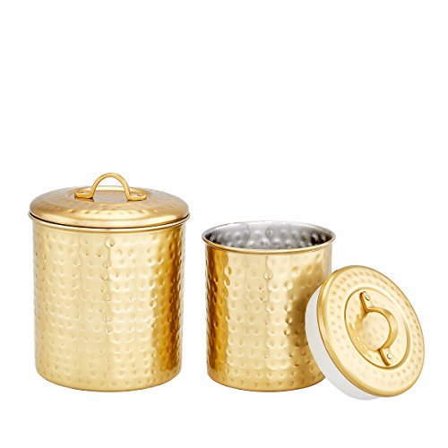 S/2 Dcor Champagne Hammered Canister Set 1 1/2 Qt and 1 Qt