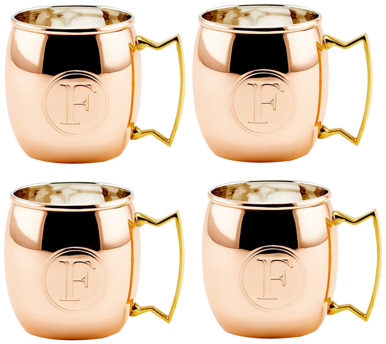 S/4 Solid Copper Moscow Mule Mugs, Monogram F, 16 Oz.