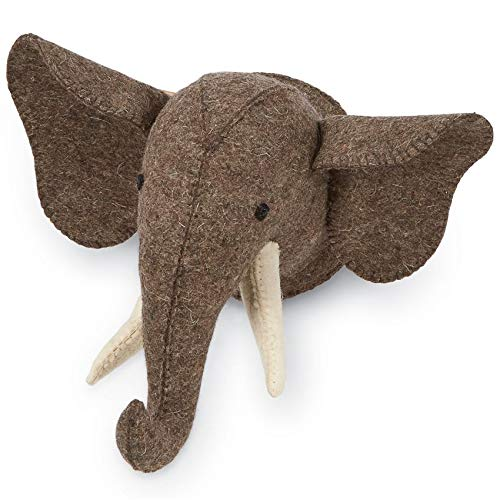 Mud Pie Felt Mini Safari Wall Mount, Elephant