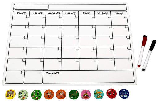 Magnetic Calendar with 10 icons, 2 markers - monthly